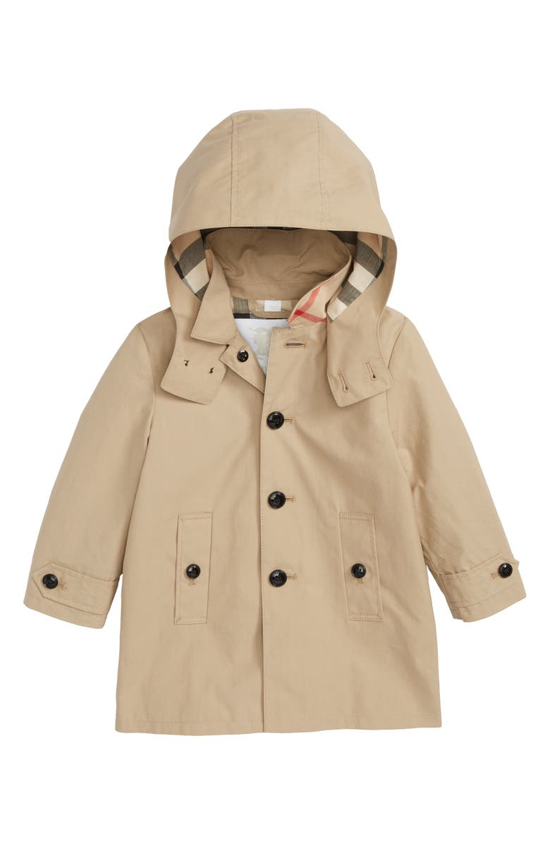 BURBERRY Mini Bradley Hooded Trench Coat, Main, color, 250