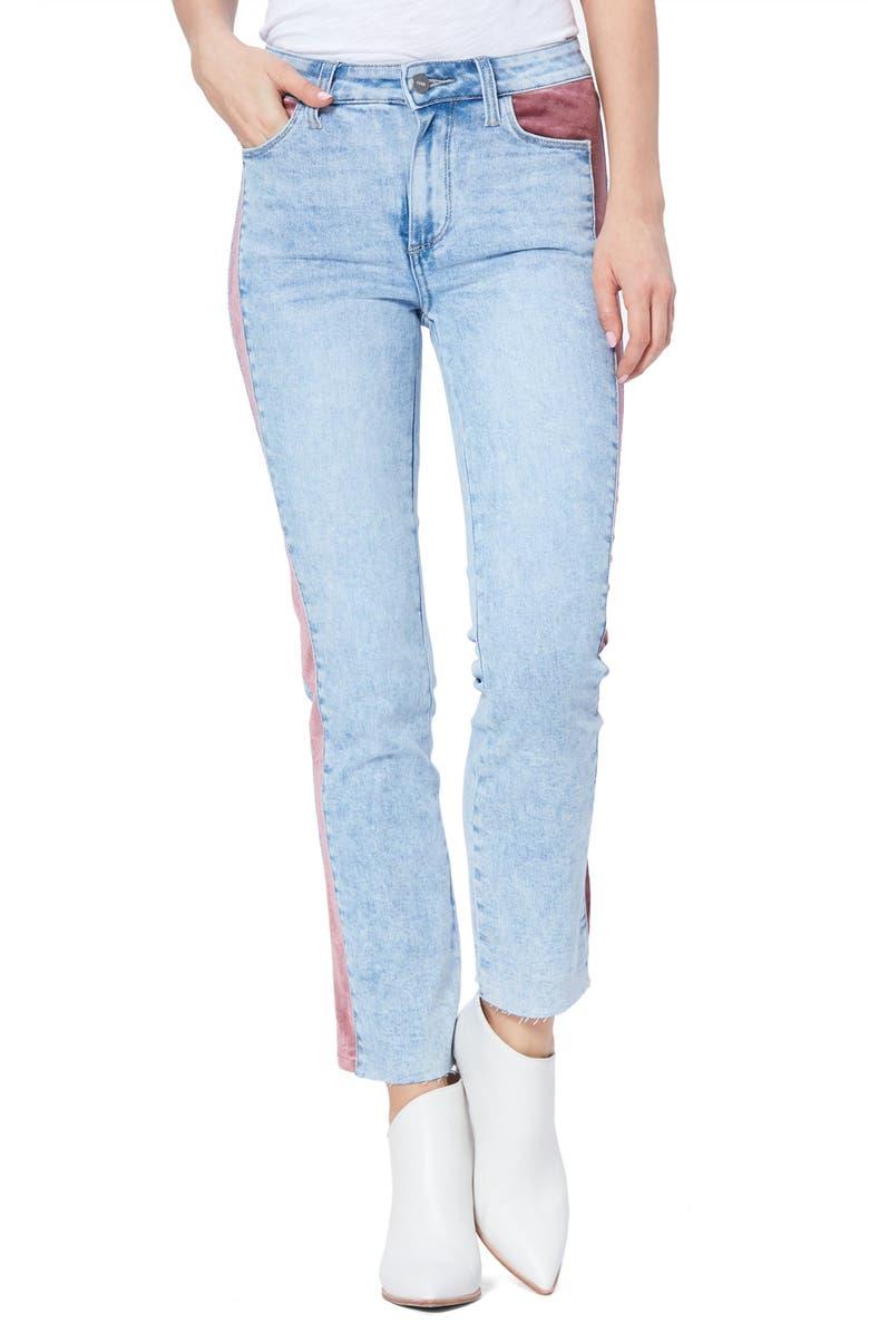 PAIGE Cindy High Waist Velvet Inset Skinny Jeans, Main, color, INDIGO VELVET ROSE