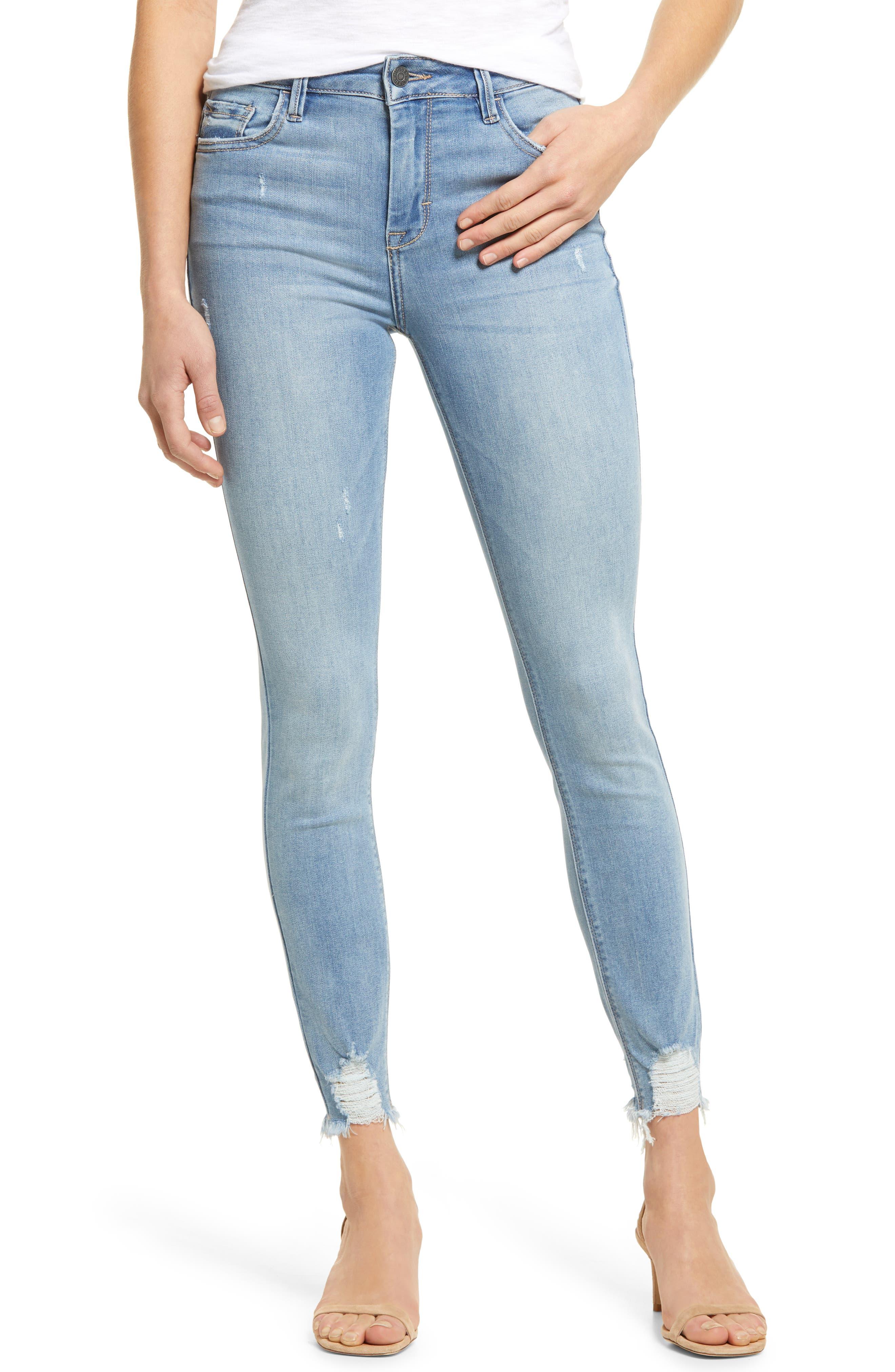 Grinded Hem Stretch Skinny Jeans