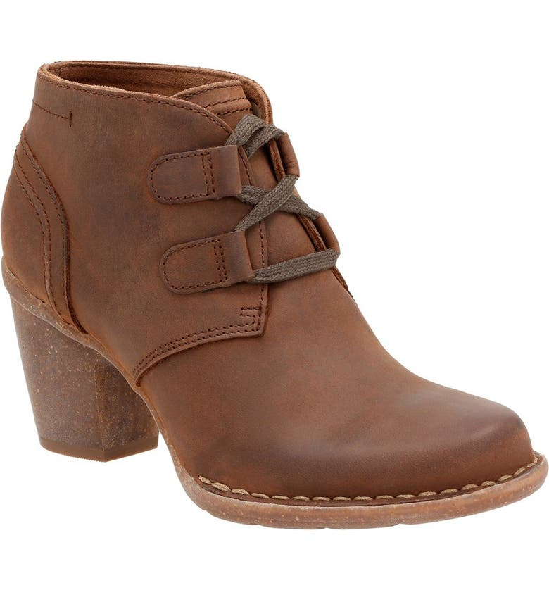 CLARKS<SUP>®</SUP> 'Carleta Lyon' Ankle Boot, Main, color, BROWN OILED NUBUCK LEATHER