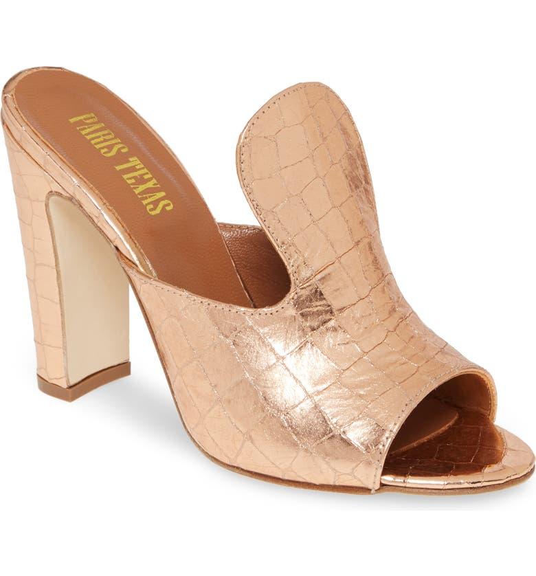 PARIS TEXAS Ultra High Mule Slide Sandal, Main, color, METALLIC ROSE GOLD CROCO