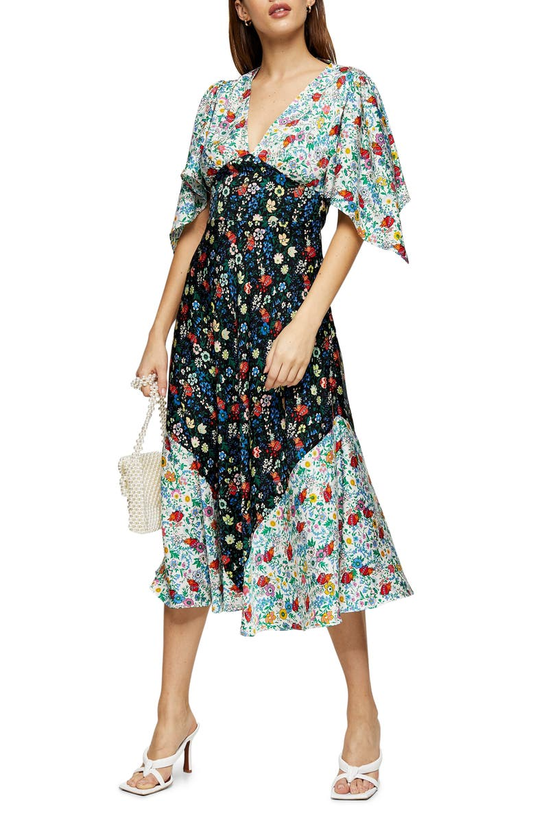 TOPSHOP IDOL Mix Print Midi Dress, Main, color, BLACK MULTI