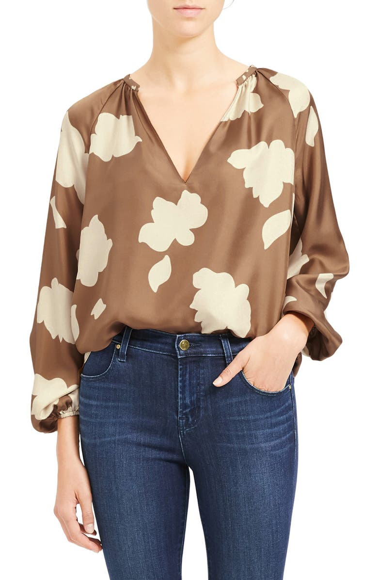 THEORY Floral Print Silk Top, Main, color, BRIGHT CAMEL