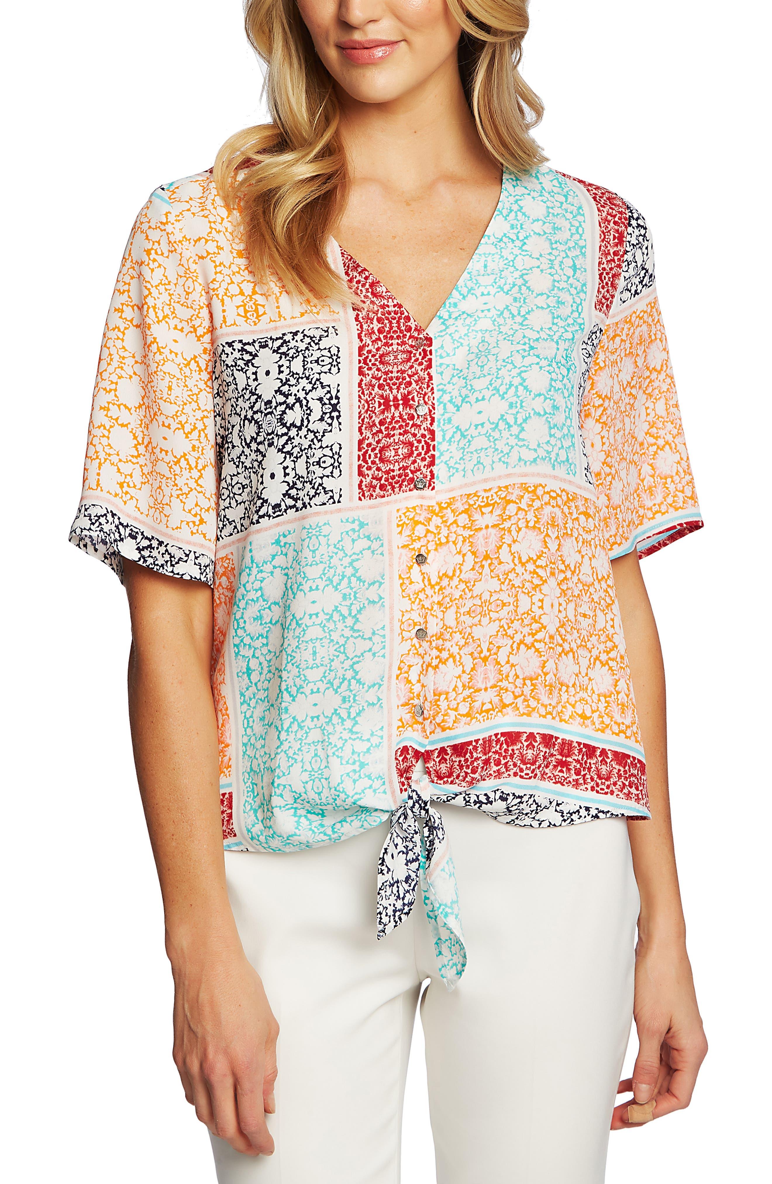 ,                             Patchwork Floral Print Tie Front Blouse,                             Main thumbnail 1, color,                             EVENING NAVY