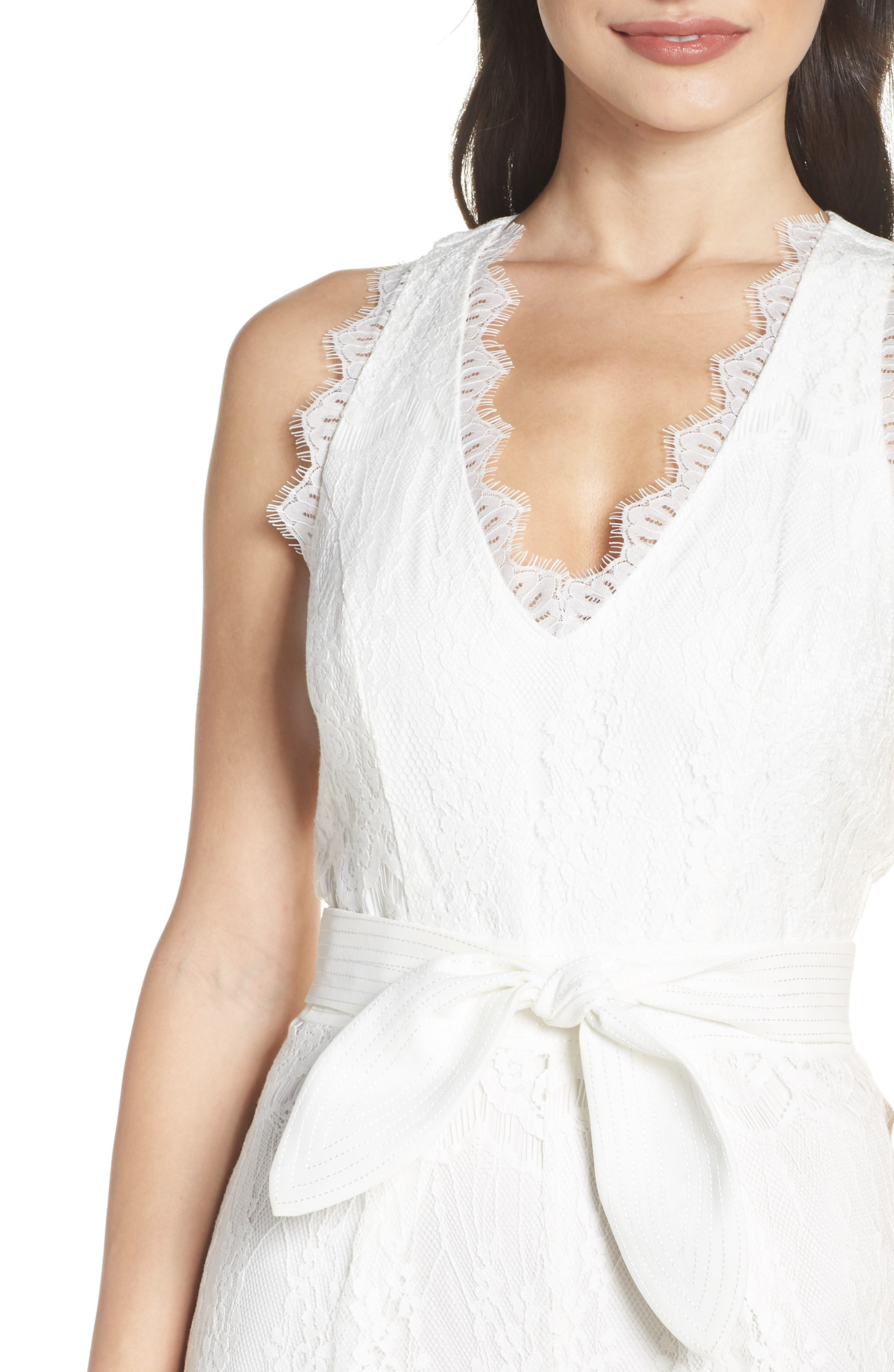 ,                             Scallop Trim Lace Jumpsuit,                             Alternate thumbnail 5, color,                             OFF WHITE