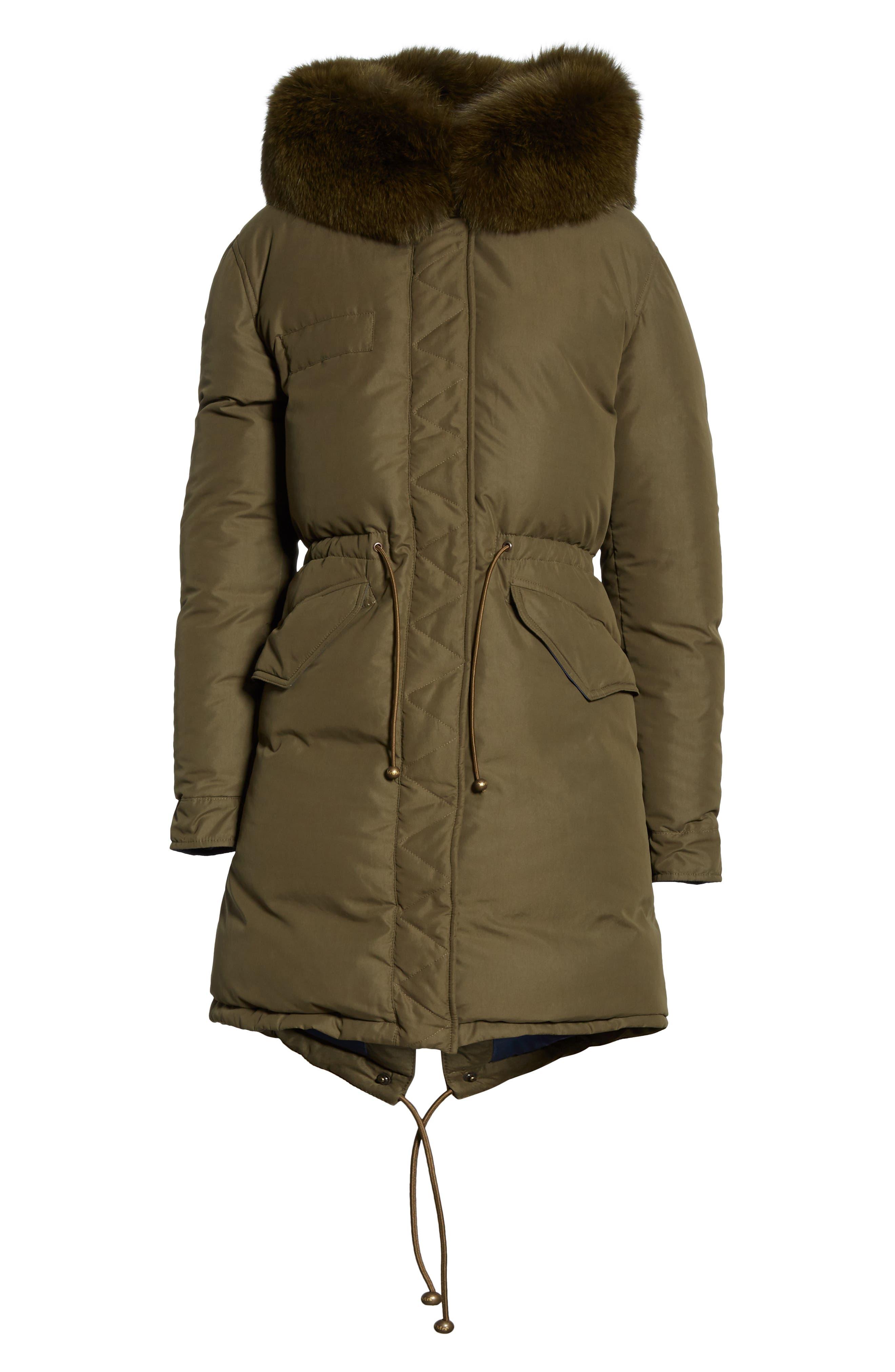 ,                             Genuine Fox Fur Trim Down Puffer Coat,                             Alternate thumbnail 7, color,                             300