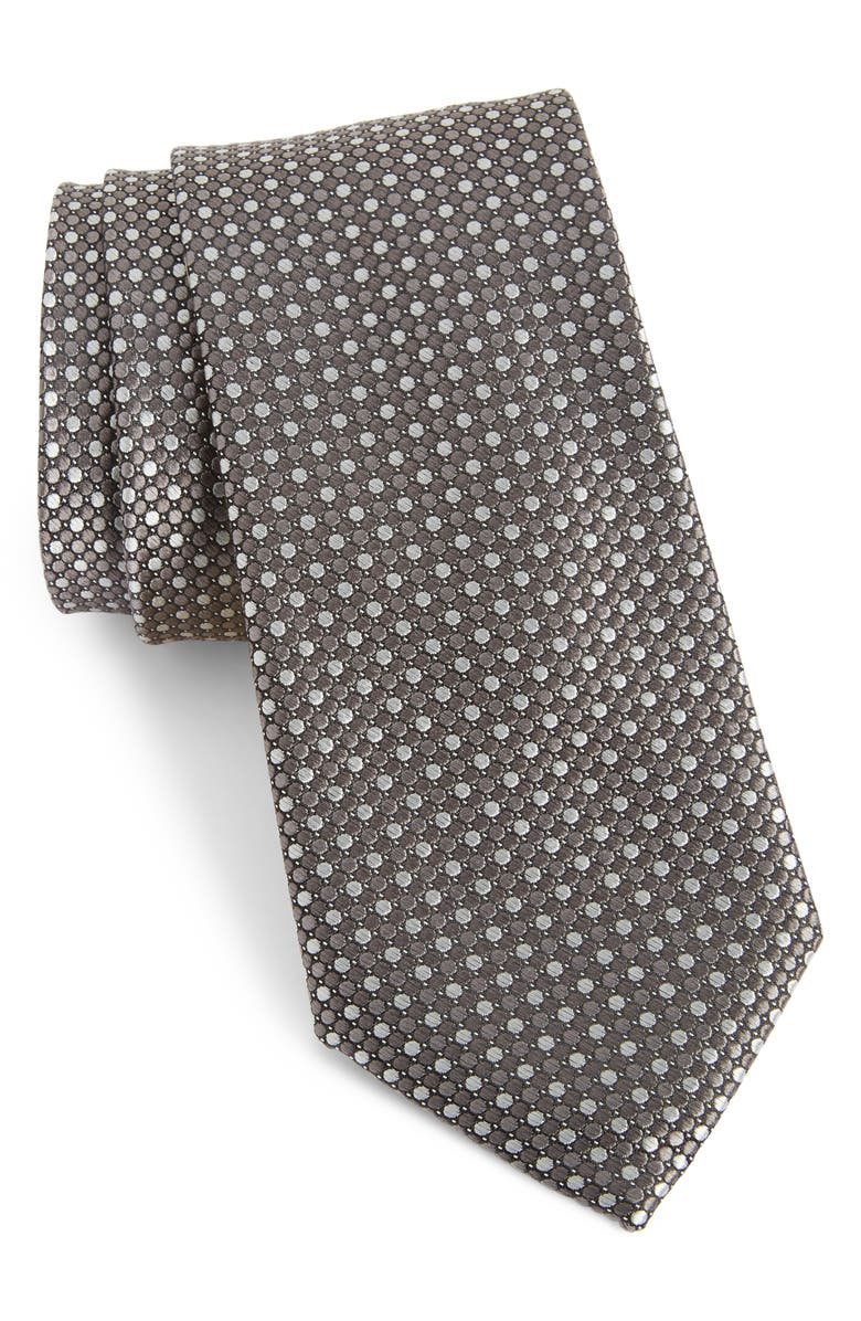 NORDSTROM MEN'S SHOP Morris Micro Silk Tie, Main, color, GREY
