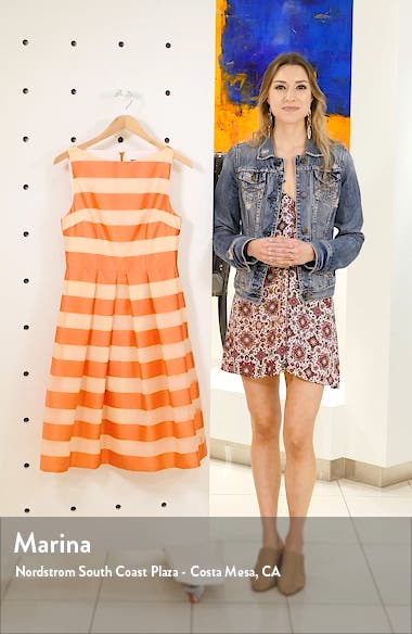Boatneck Stripe Organza Dress, sales video thumbnail