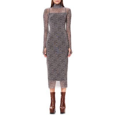 Afrm Shailene Long Sleeve Print Mesh Dress, Brown