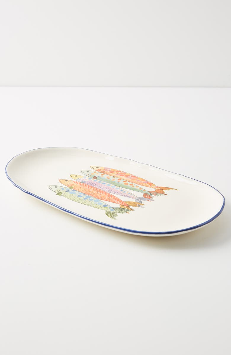 ANTHROPOLOGIE Sardina Small Serving Platter, Main, color, BLUE