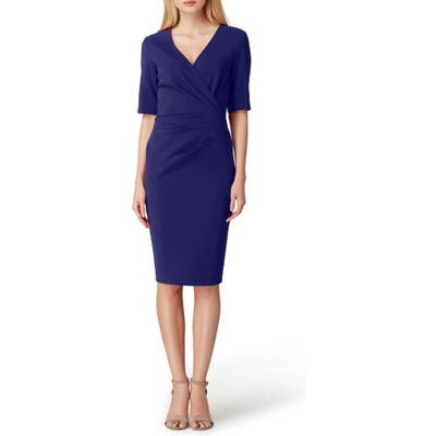 Tahari Scuba Crepe Sheath Dress, Blue