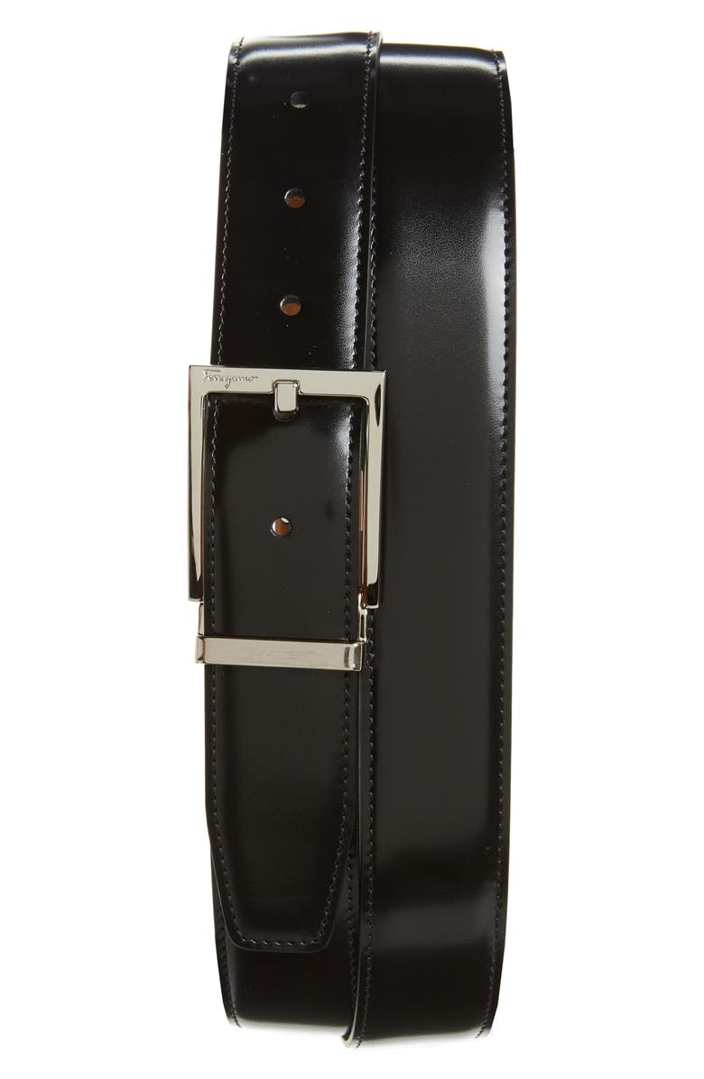 SALVATORE FERRAGAMO Reversible Leather Belt, Main, color, BLACK/ CUOIO