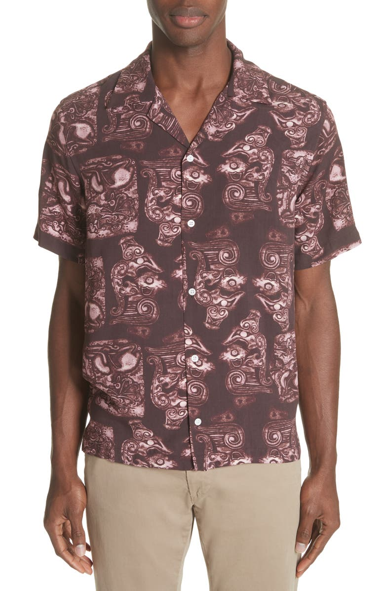 SATURDAYS NYC Canty Pendant Print Camp Shirt, Main, color, 599