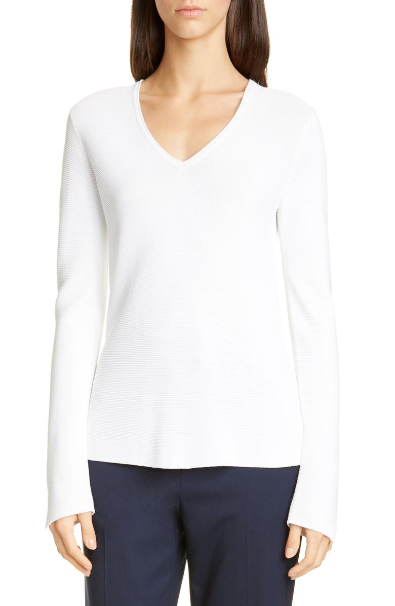 ST. JOHN COLLECTION Luxe Links Textured Sweater, Main, color, WHITE