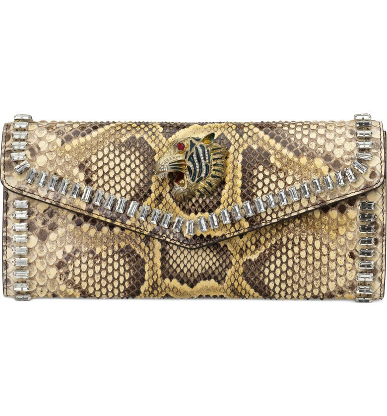 GUCCI Genuine Python Clutch, Main, color, BUTTER/ CRYSTAL MULTI