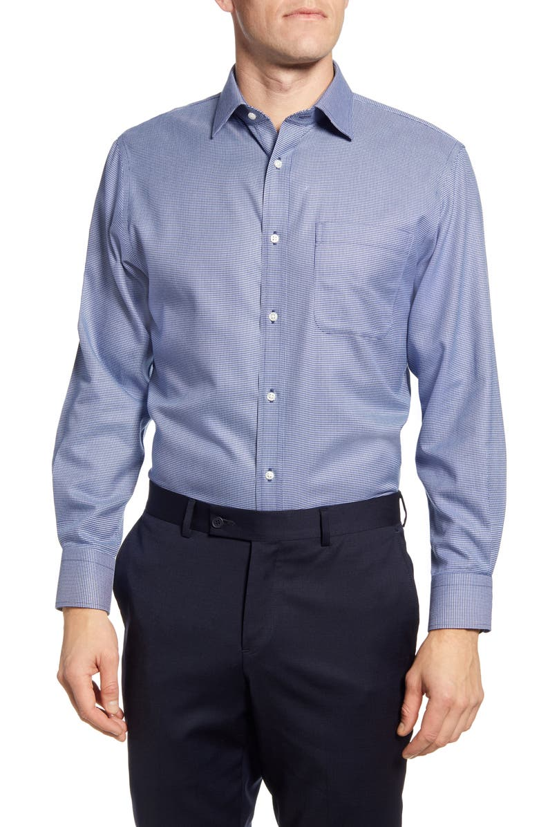 NORDSTROM Men's Shop Traditional Fit Non-Iron Houndstooth Dress Shirt, Main, color, BLUE DEPTHS