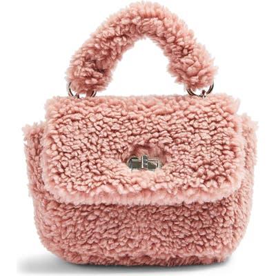 Topshop Faux Shearling Shoulder Bag - Pink