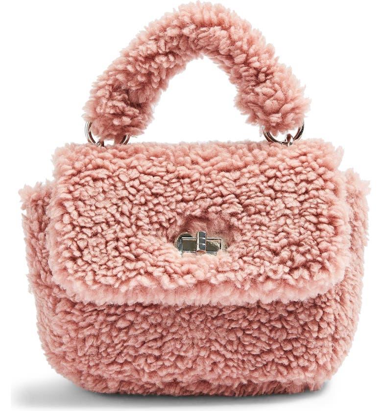 TOPSHOP Faux Shearling Shoulder Bag, Main, color, PINK