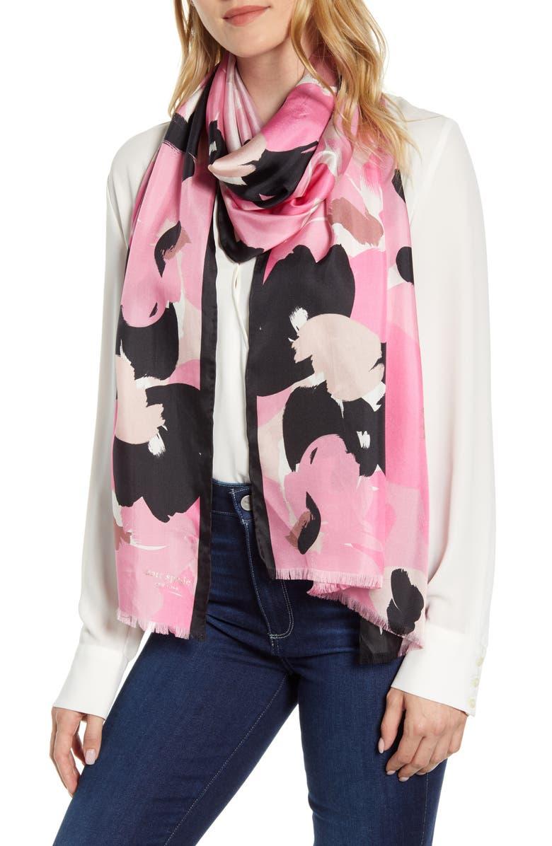 KATE SPADE NEW YORK brush bloom silk scarf, Main, color, STRAWBERRY GLAZE