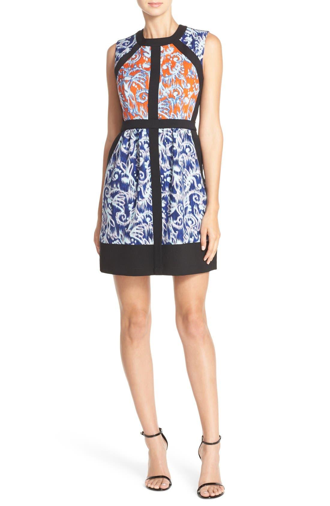 'Donatella' Banded Crepe Fit & Flare Dress, Main, color, 806