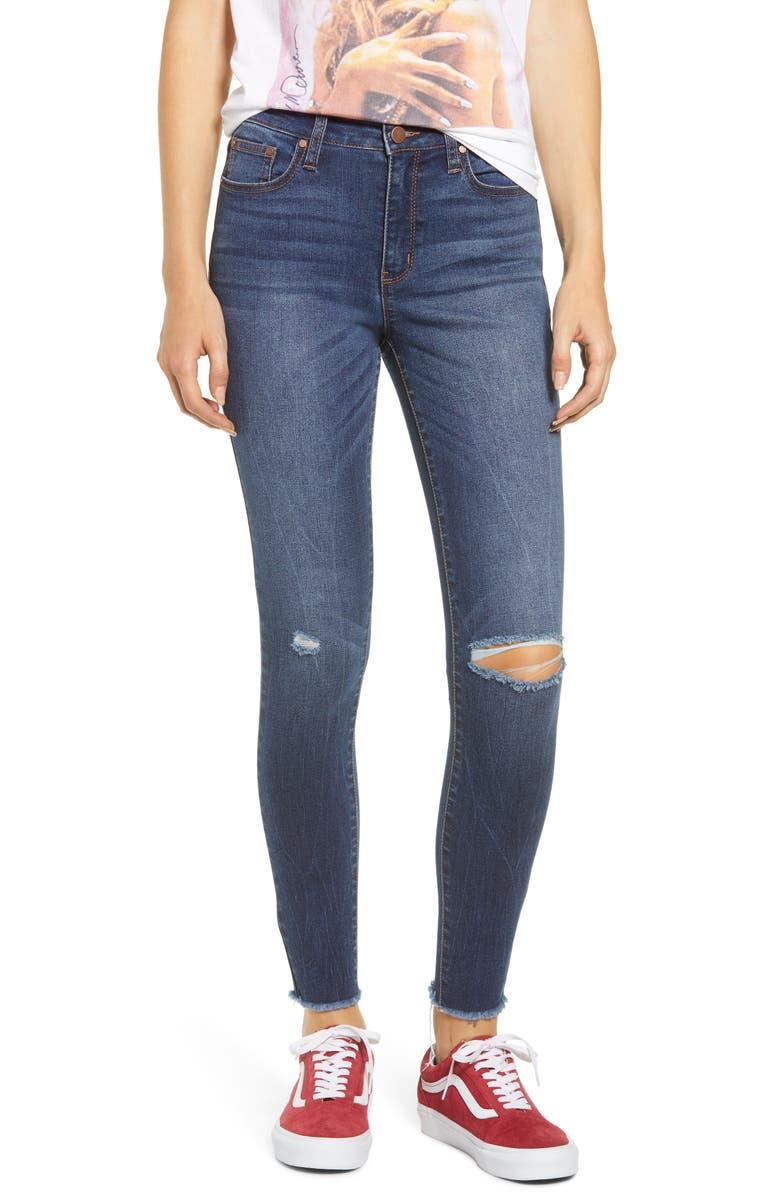 Tinsel Fray Hem Distressed Skinny Jeans
