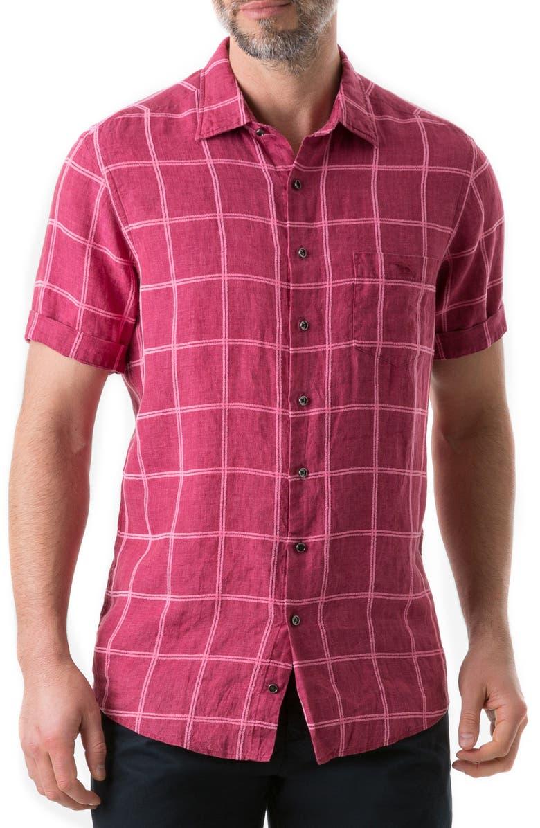 RODD & GUNN New Windsor Regular Fit Check Linen Blend Shirt, Main, color, MAGENTA