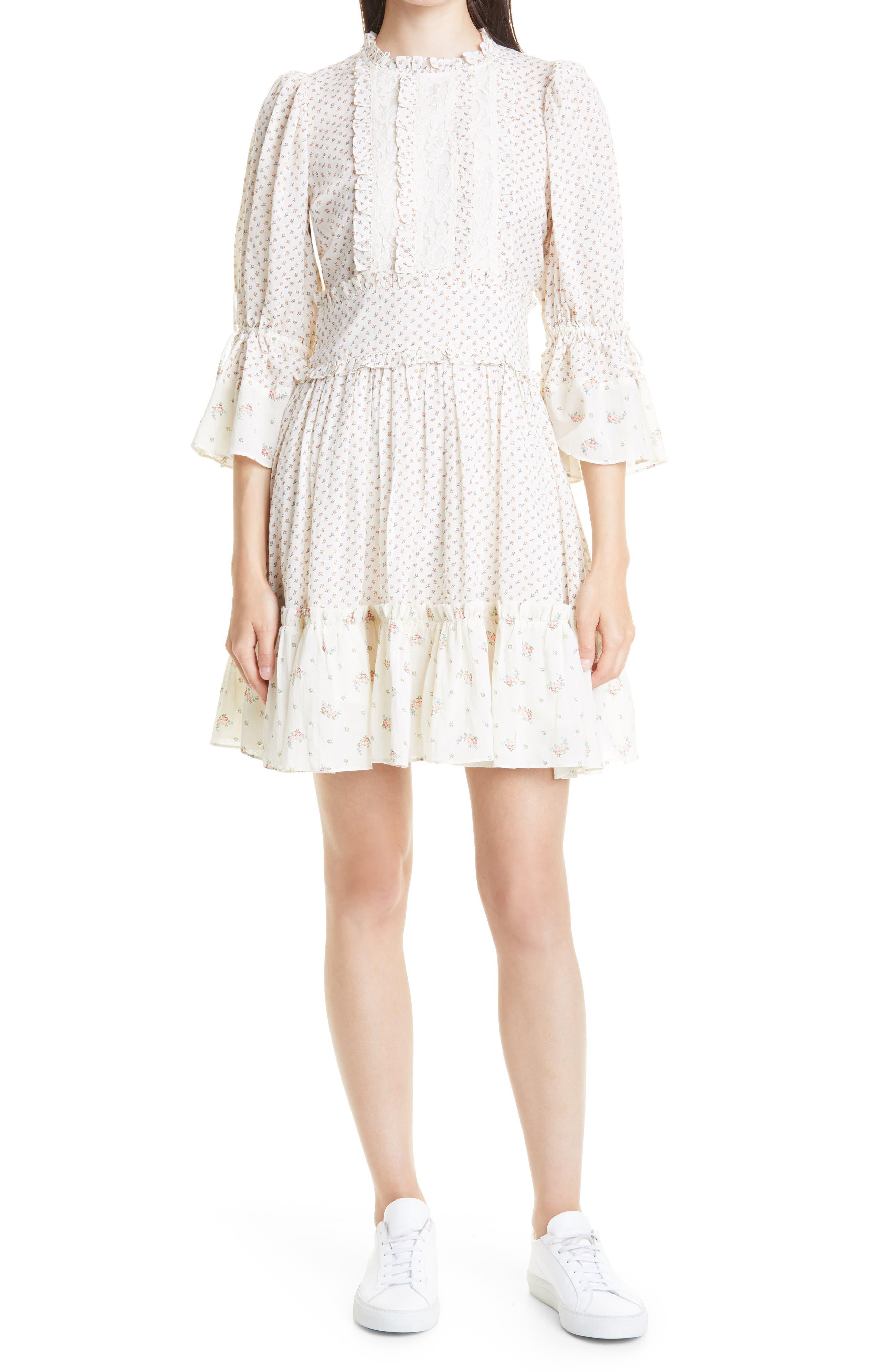Bohemian Mixed Florals & Lace Minidress