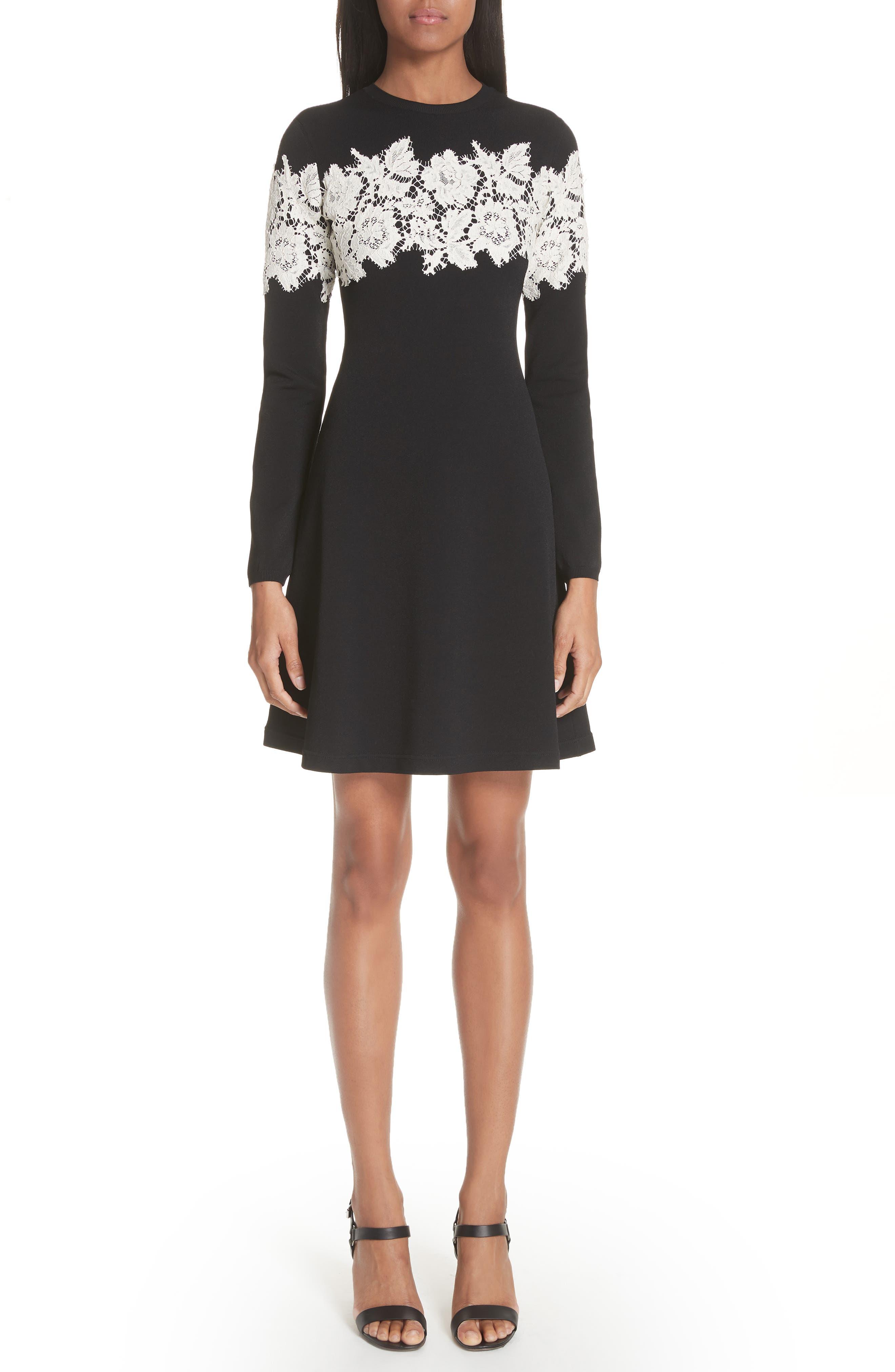 Valentino Lace Stripe Knit Dress, Black