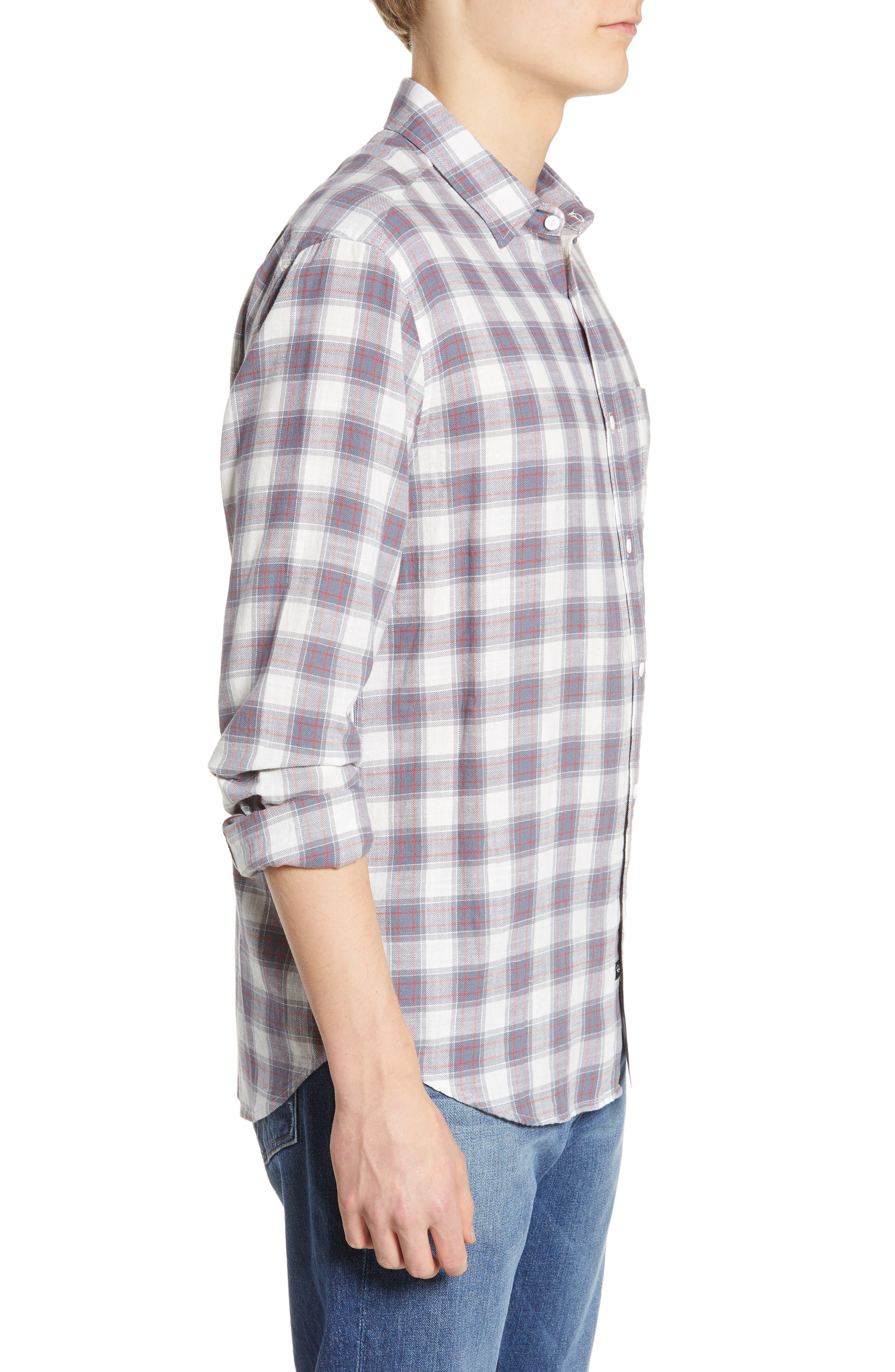 ,                             Wyatt Regular Fit Plaid Sport Shirt,                             Alternate thumbnail 4, color,                             OCEAN TANGERINE