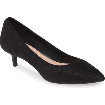 Taryn Rose Nicki Pointed Toe Kitten Heel Pump- Black