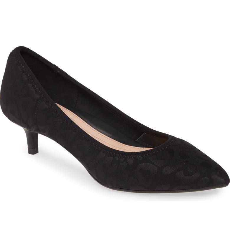 TARYN ROSE Nicki Pointed Toe Kitten Heel Pump, Main, color, BLACK/ BLACK FABRIC
