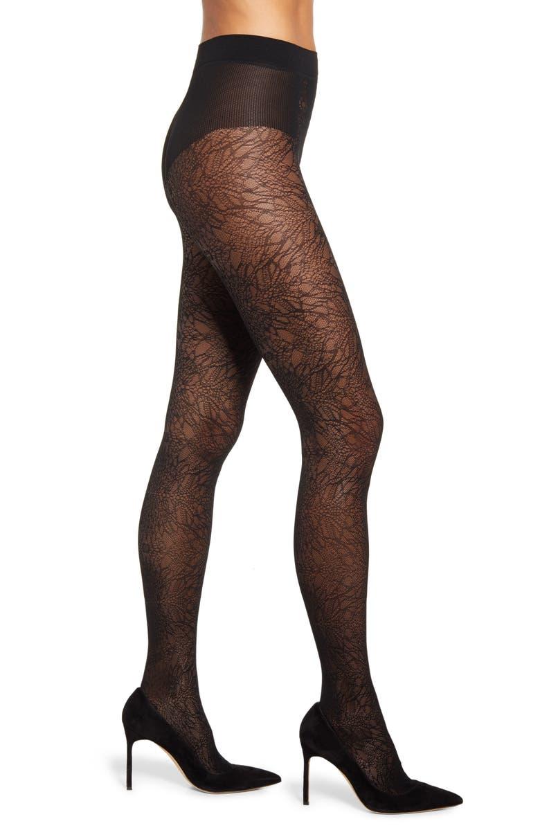 FALKE Visceral Beauty Patterned Tights, Main, color, 3009 BLACK