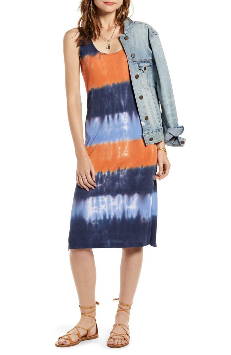 TREASURE & BOND Sleeveless Dip Dye Tank Dress, Main, color, ORANGE- NAVY COMBO