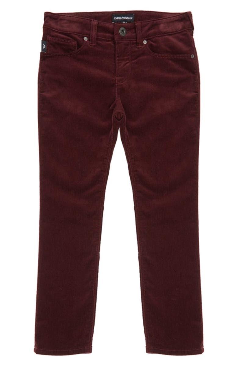 ARMANI JUNIOR Corduroy Pants, Main, color, BORDEAUX