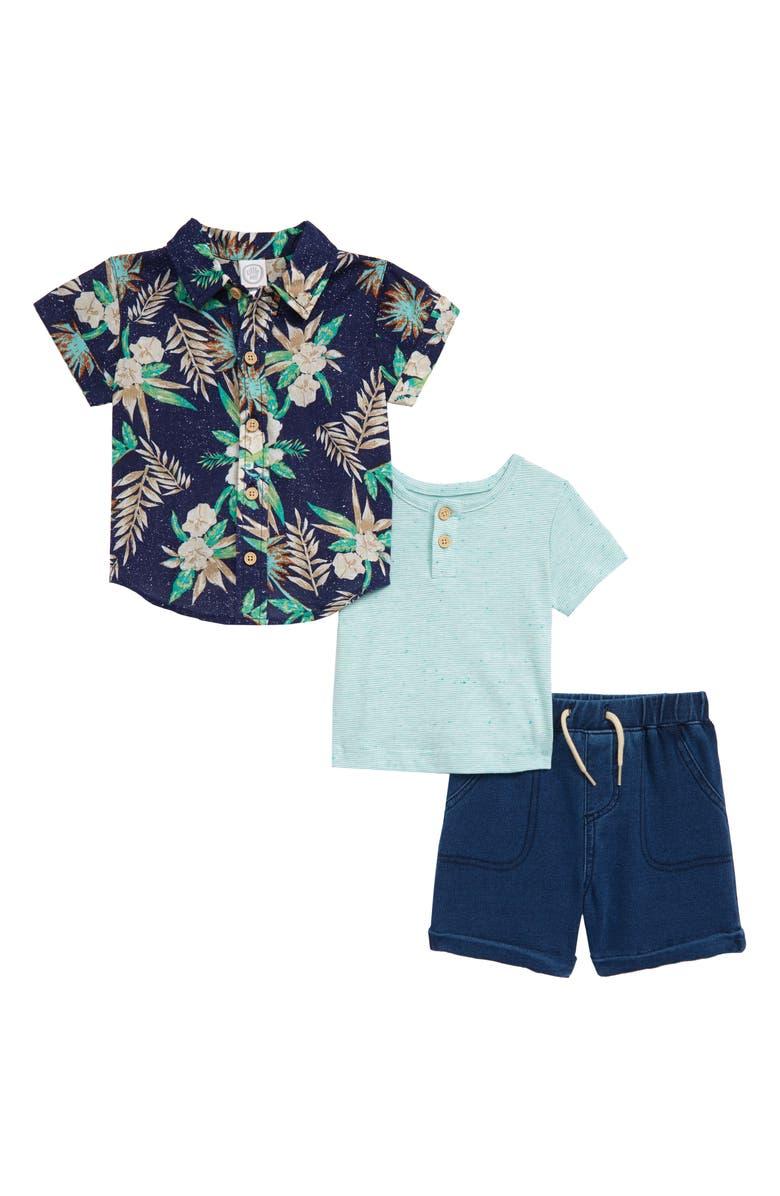 LITTLE ME Tropical Print Woven Shirt, Stripe Henley & Shorts Set, Main, color, BLUE