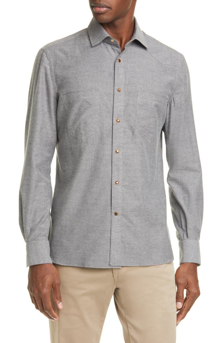 EIDOS Trim Fit Mélange Western Shirt, Main, color, GREY