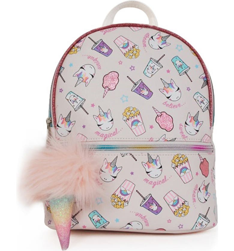 OMG Mini Unicorn Snacks Backpack, Main, color, WHITE