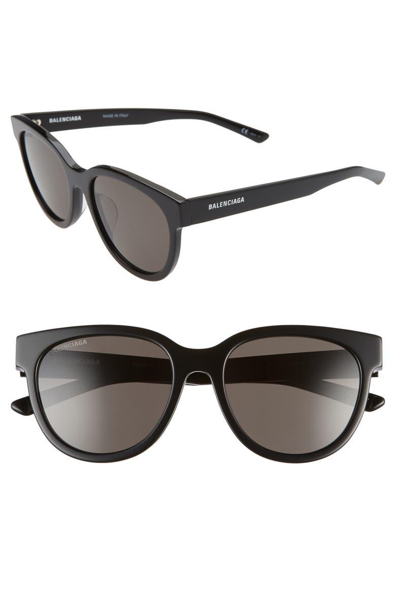 BALENCIAGA 54mm Polarized Round Cat Eye Sunglasses, Main, color, BLACK/ GREY