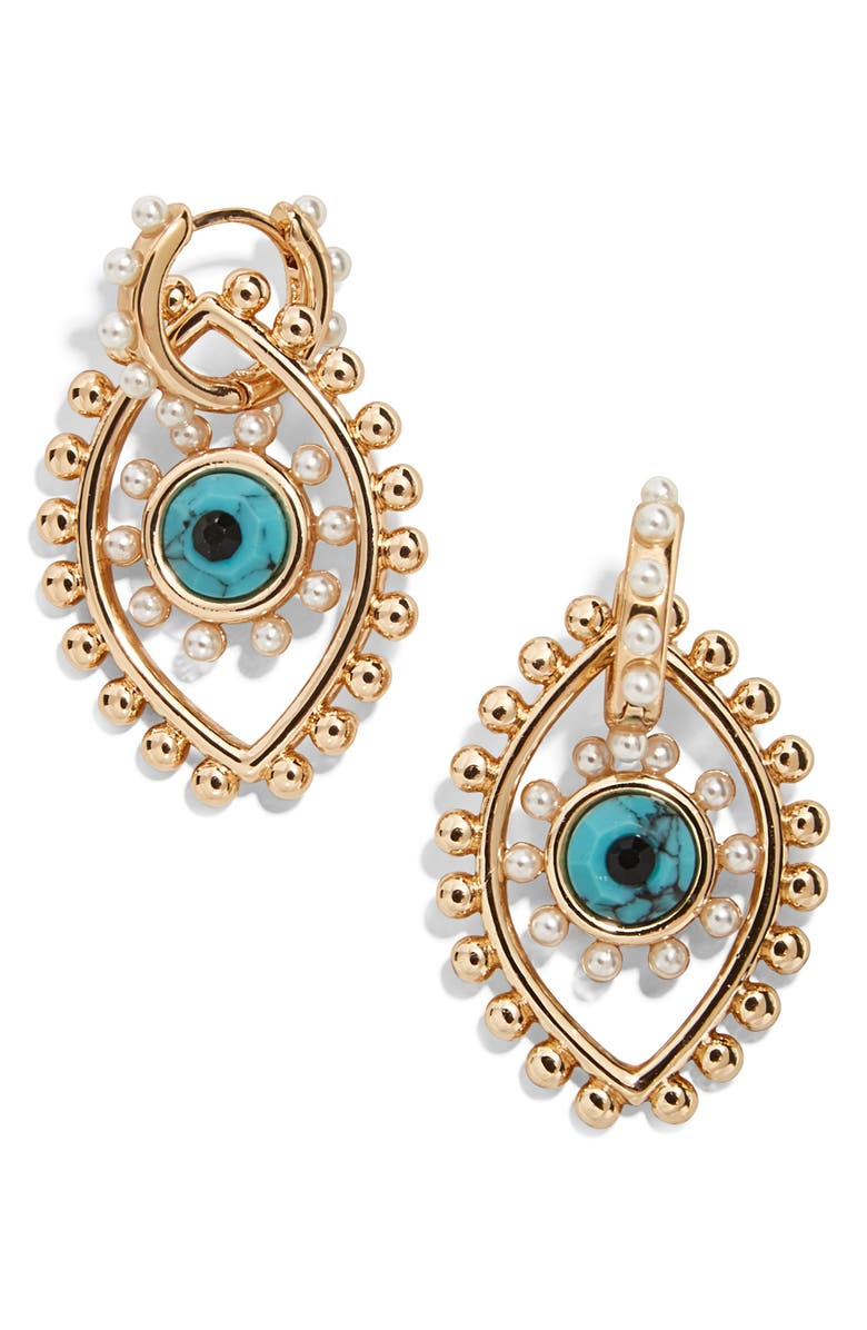 BAUBLEBAR Panon Evil Eye Drop Earrings, Main, color, GOLD