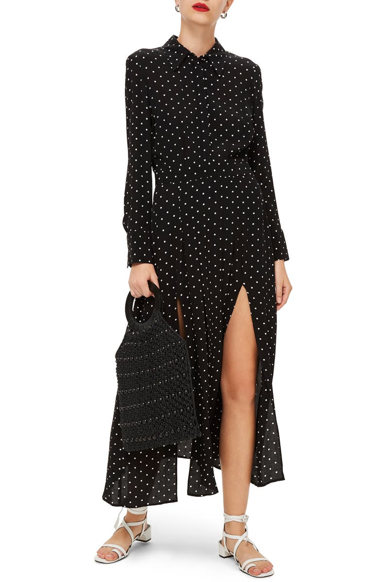 TOPSHOP Dot Print Dress, Main, color, 001