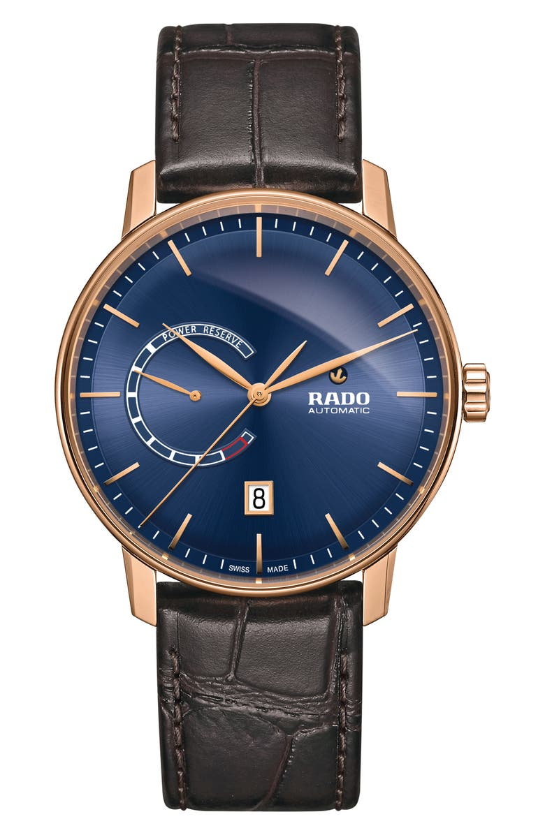 RADO Coupole Classic Automatic Leather Strap Watch, 41mm, Main, color, 200
