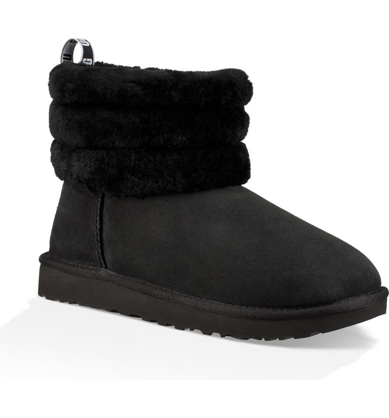 UGG<SUP>®</SUP> Classic Mini Fluff Quilted Boot, Main, color, BLACK SUEDE