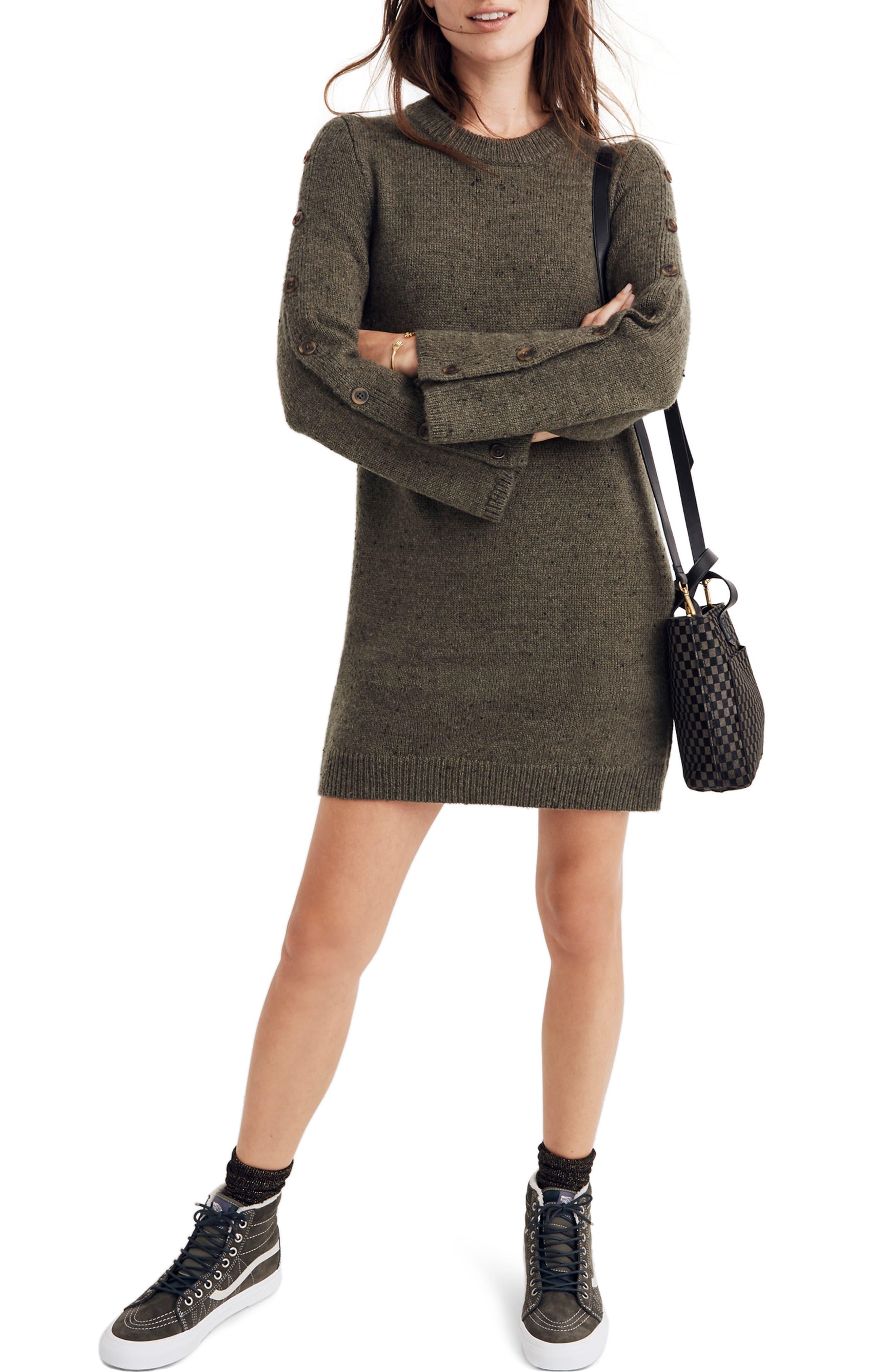 Madewell Donegal Button-Sleeve Sweater Dress, Green