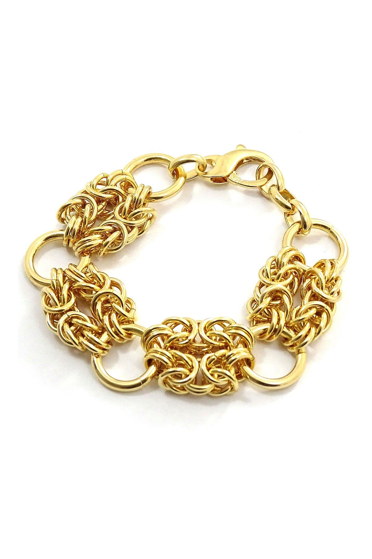 Savvy Cie Italian 18K Yellow Gold Plated Byzantine Link Bracelet at Nordstrom Rack