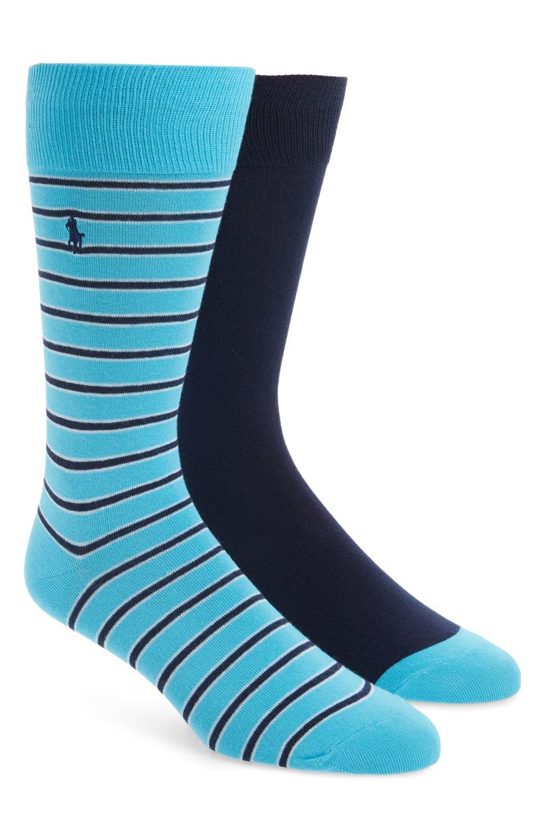POLO RALPH LAUREN 2-Pack Stripe & Solid Socks, Main, color, AQUA
