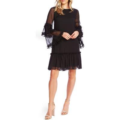 Cece Ruffle Chiffon Shift Dress, Black