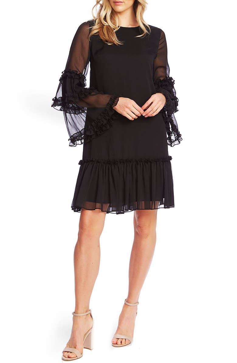 CECE Ruffle Chiffon Shift Dress, Main, color, 006