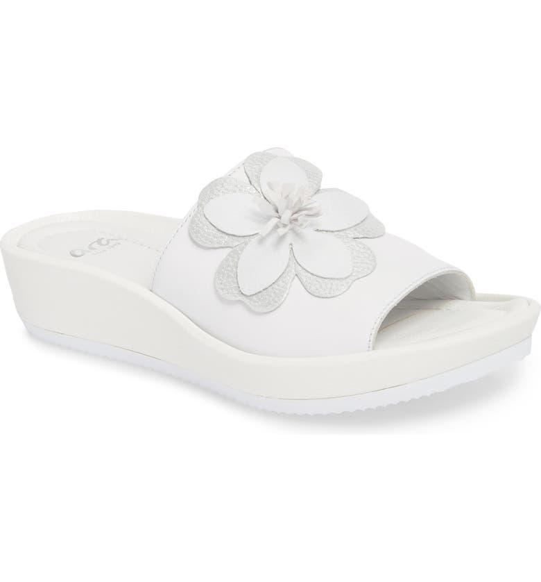 ARA Thea Wedge Slide Sandal, Main, color, WHITE LEATHER