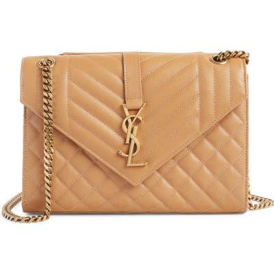 Saint Laurent Monogram Leather Envelope Clutch - Brown