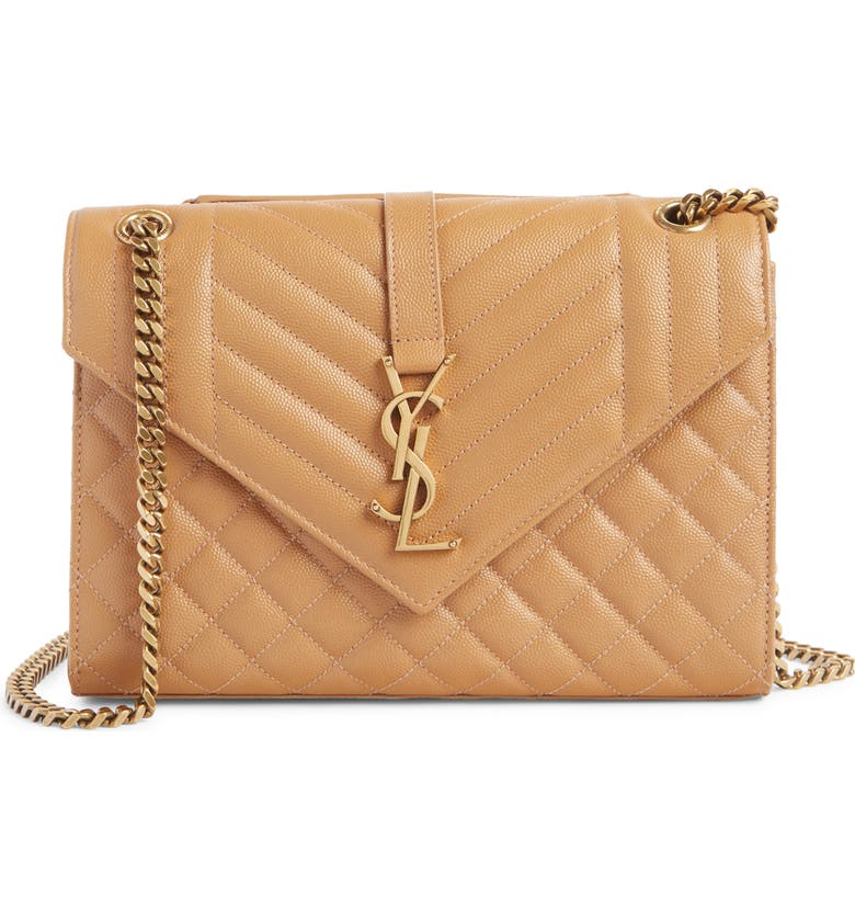 SAINT LAURENT Monogram Leather Envelope Clutch, Main, color, DUNE